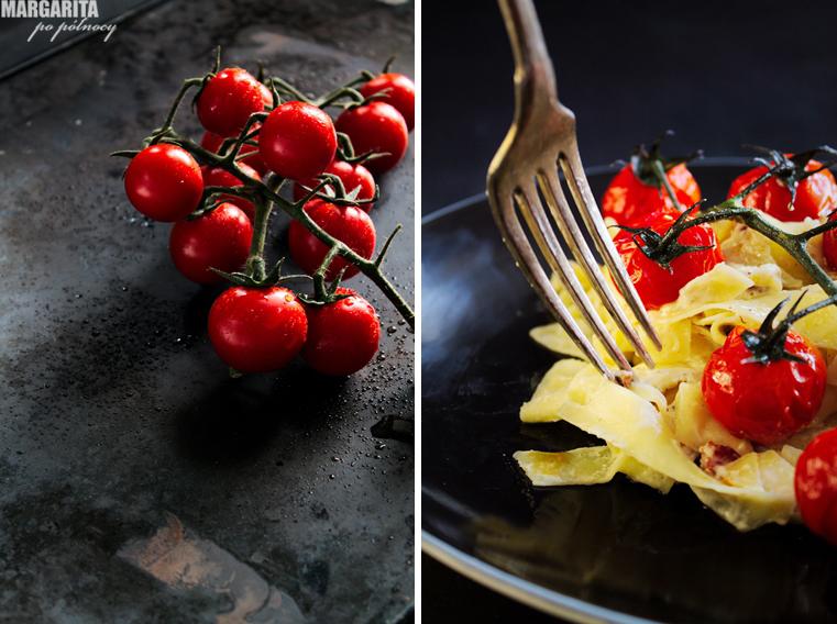 Tagliatelle z mascarpone i pomidorkami koktajlowymi