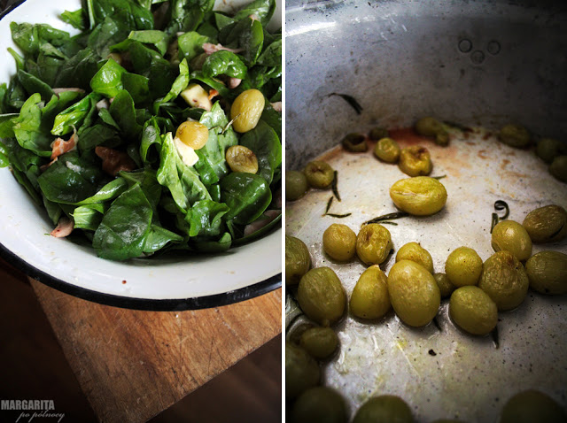Sałatka z pieczonymi winogronami i szpinakiem