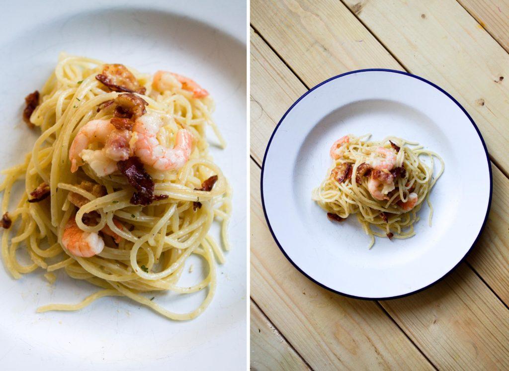 spaghetti alla carbonara z krewetkami